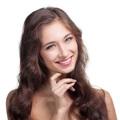 Portrait of attractive caucasian smiling brunette woman.  Isolat