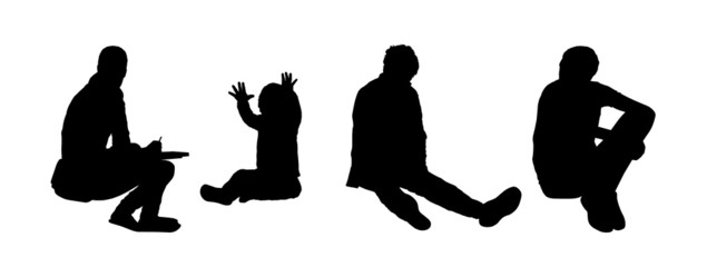 people seated outdoor silhouettes set 5