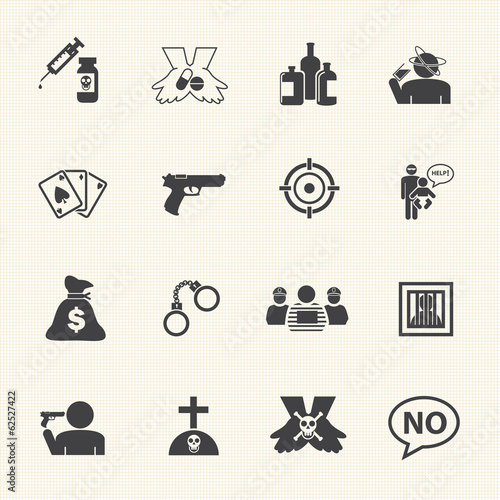 Simple Drug and Crime Icons set.