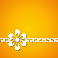 orange background with a floral border