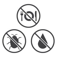 Do not Eat, Bug and Wet icons.