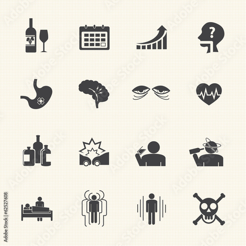 Alcoholism icons set.