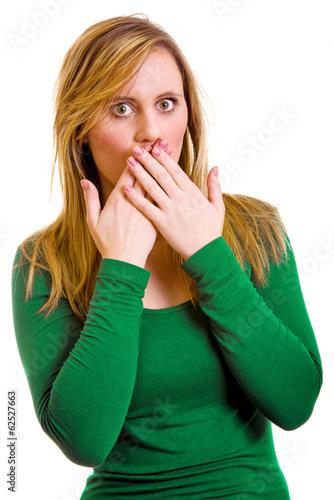 canvas print picture Frau hält sich den Mund zu