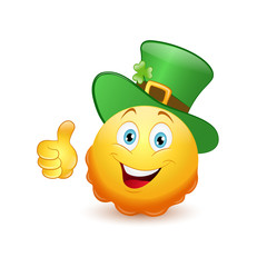 Leprechaun emoticon with thumb up