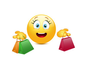 Shopping emoticon  on a white background
