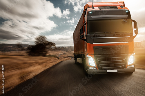 canvas print picture Truck on Country Road