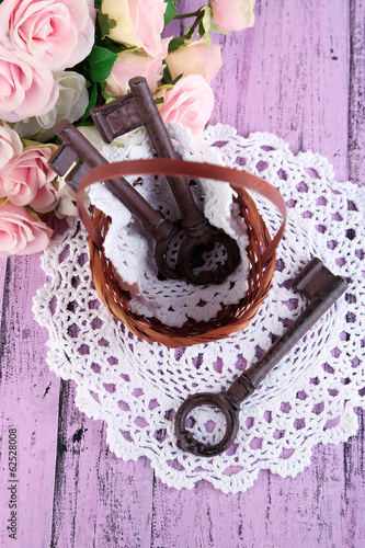 Key to success and happiness. Composition with keys in wicker