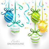 Easter eggs with ribbons and confetti. Vector