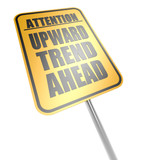 Upward trend ahead road sign