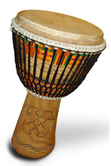 african djembe with Kente cloth