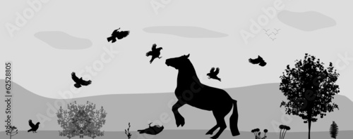 Fight Horses and Birds in Nature. Vector Illustration.