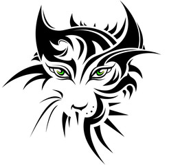 Abstract tiger in tattoo style