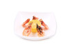 Plate with fresh boiled shrimps and lemon.