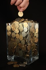 Coins in a glass jar