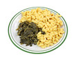 Turnip Greens Macaroni Cheese On Plate