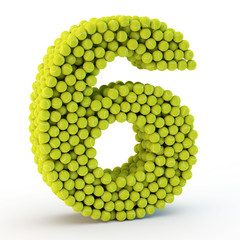 3D number six made from tennis balls