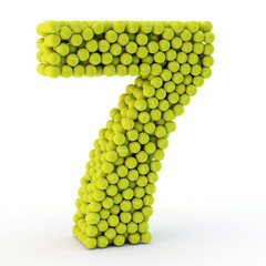 3D number seven made from tennis balls