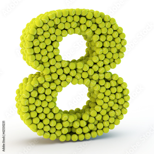 3D number eight made from tennis balls