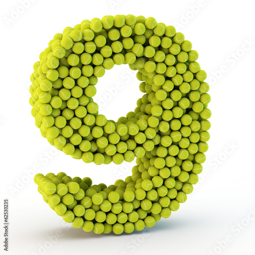 3D number nine made from tennis balls