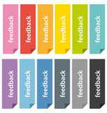 Colorful feedback bookmarks set.