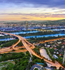 Vienna with the Danube River, Danube Island and highway junction