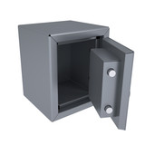 Opened metal safe