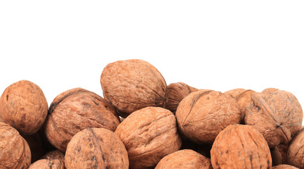 Bunch of walnuts. Close up.