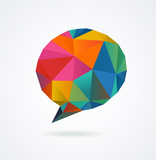 Polygonal geometric, vector 3D speech bubble