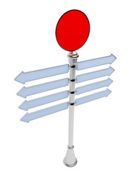 Empty direction signpost isolated on a white background. 3D.