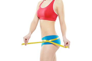 Frau Fitness Maßband rot blau
