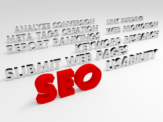 SEO concept, Internet technology. 3D voluminous words.