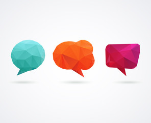Polygonal geometric, vector 3D speech bubbles set