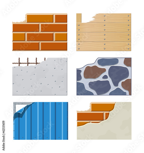 Wall. Set of building icons. Eps10 vector illustration.
