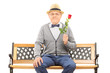 Gentleman holding a red rose seated on bench