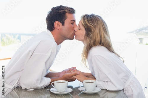 Side view of a loving couple kissing