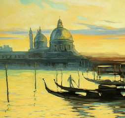 sacred mark's cathedral to venice and gondolas, painting by oil
