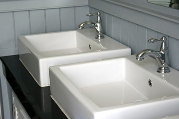 Modern white basin in hotel