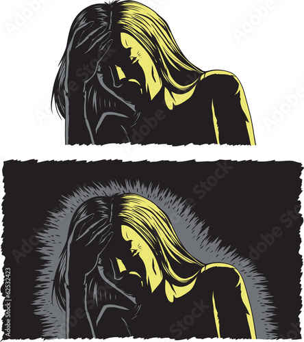 Woman with bad headache