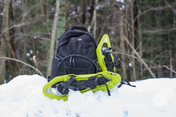 Snowshoes and backpack in a snowy forest