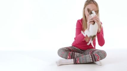 Girl with chihuahua dog