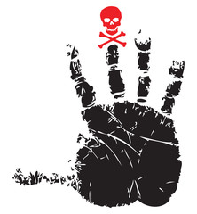Handprint with red skull