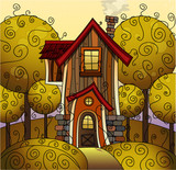 Vector sunny autumn fabulous home. Eps10