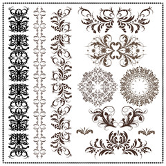 set of calligraphic patterns