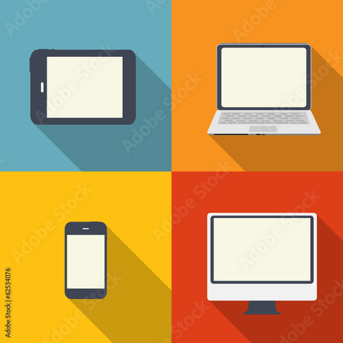 Computing Concept on Different Electronic Devices. Vector Illust