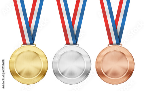 gold, silver, bronze realistic sport medals with tricolor ribbon