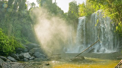 Big waterfall in Phnom Kulen National Park. Laos