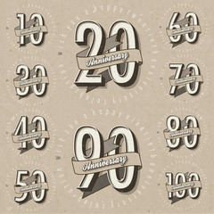 Anniversary sign collection and cards design in retro style.