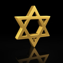 Gold Star of David on black
