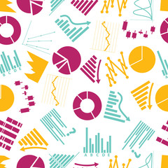 graphs icons seamless color pattern eps10