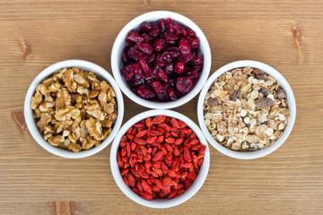 Breakfast muesli, goji berries, walnuts, berries